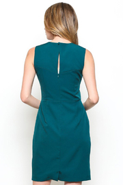 Esley Teal Sleeveless Sheath Dress with Front Cut-Out - Other