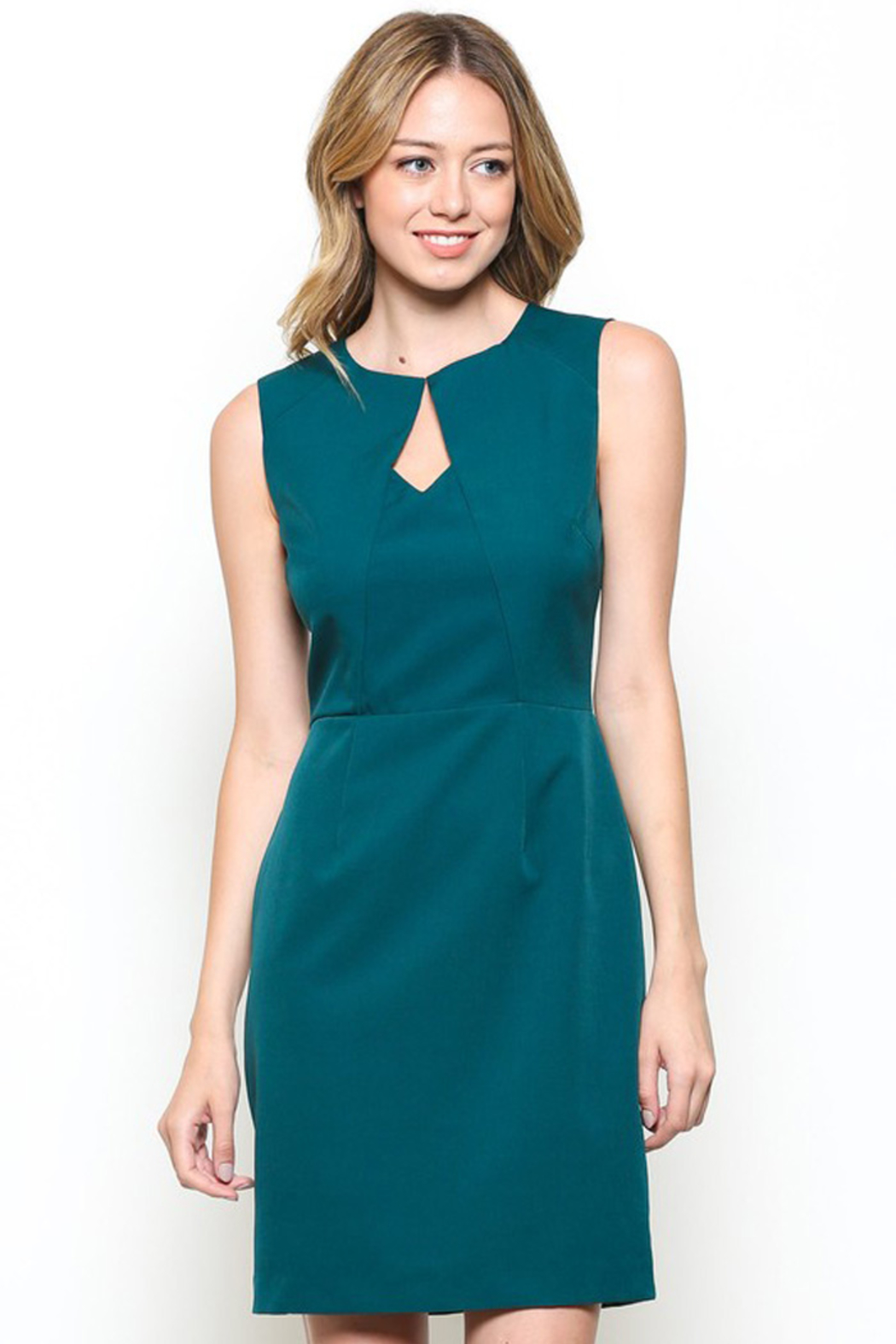 Esley Teal Sleeveless Sheath Dress with Front Cut-Out - Front Full Image