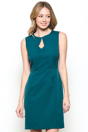 Esley Teal Sleeveless Sheath Dress with Front Cut-Out - Front full body