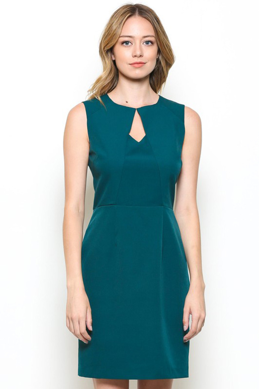 Esley Teal Sleeveless Sheath Dress with Front Cut-Out - Main Image