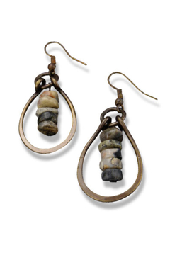 Anju Handcrafted Artisan Jewelry Tear Drop Agate Earring - Alternate List Image