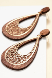 avenue zoe  Tear Drop Wood Cut Out Metal Earring - Product Mini Image