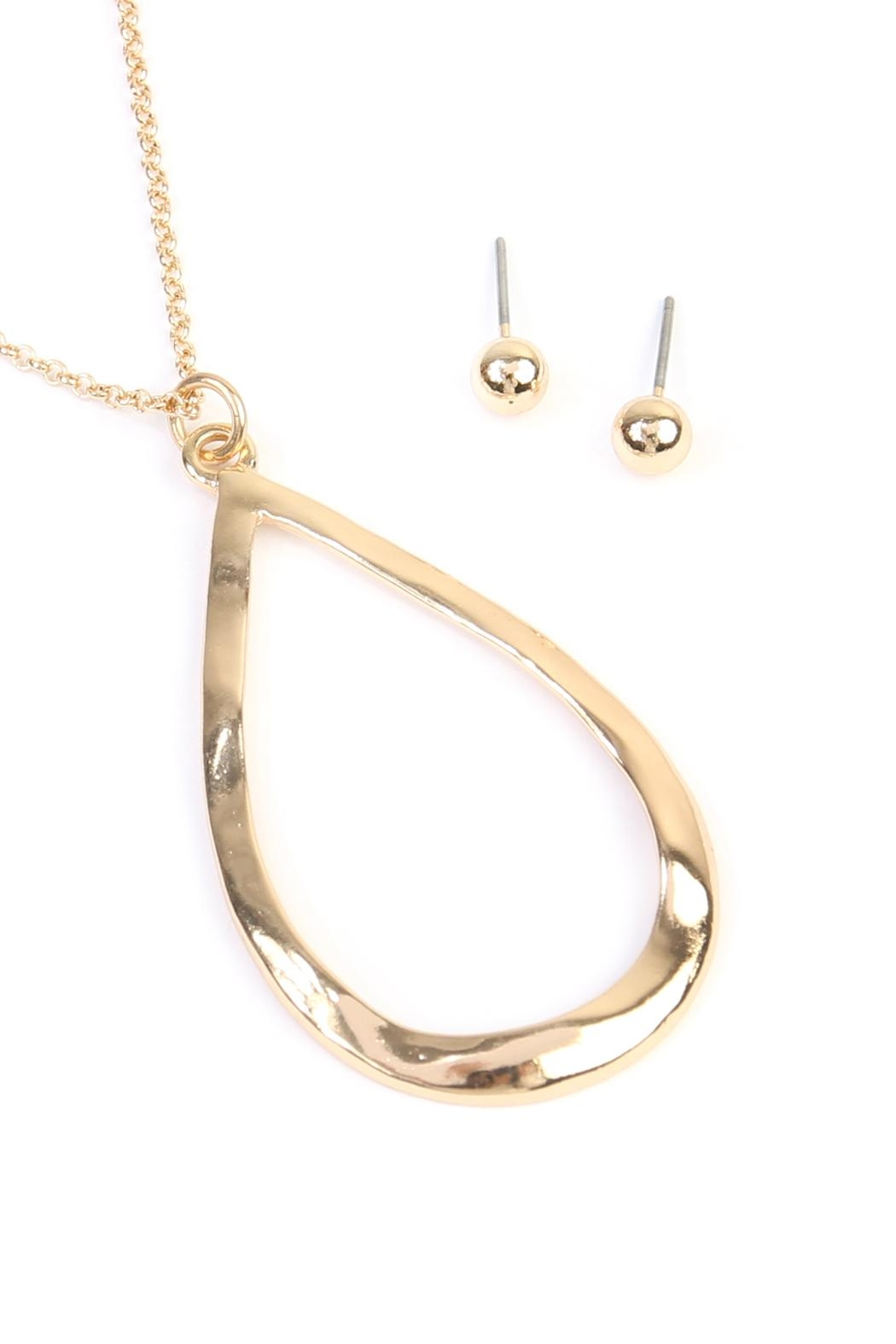 Riah Fashion Teardrop Pendant Necklace - Front Full Image