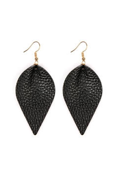 Riah Fashion Teardrop-Pinched Leather Earrings - Product List Image