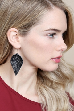 Riah Fashion Teardrop-Pinched Leather Earrings - Alternate List Image