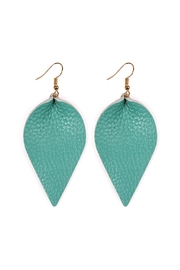 Riah Fashion Teardrop-Pinched Leather Earrings - Product Mini Image
