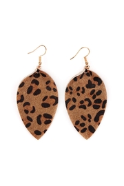 Riah Fashion Leopard Leather Drop-Earrings - Front cropped