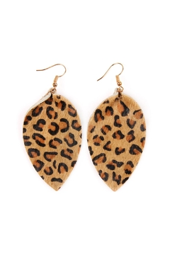 Riah Fashion Teardrop-Pinched-Leopard Leather Earrings - Product List Image