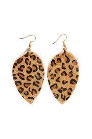 Riah Fashion Leopard Leather Drop-Earrings - Product Mini Image