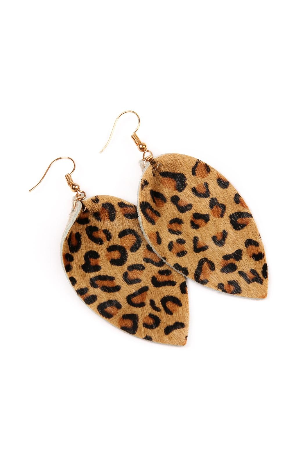 Riah Fashion Leopard Leather Drop-Earrings - Front Full Image