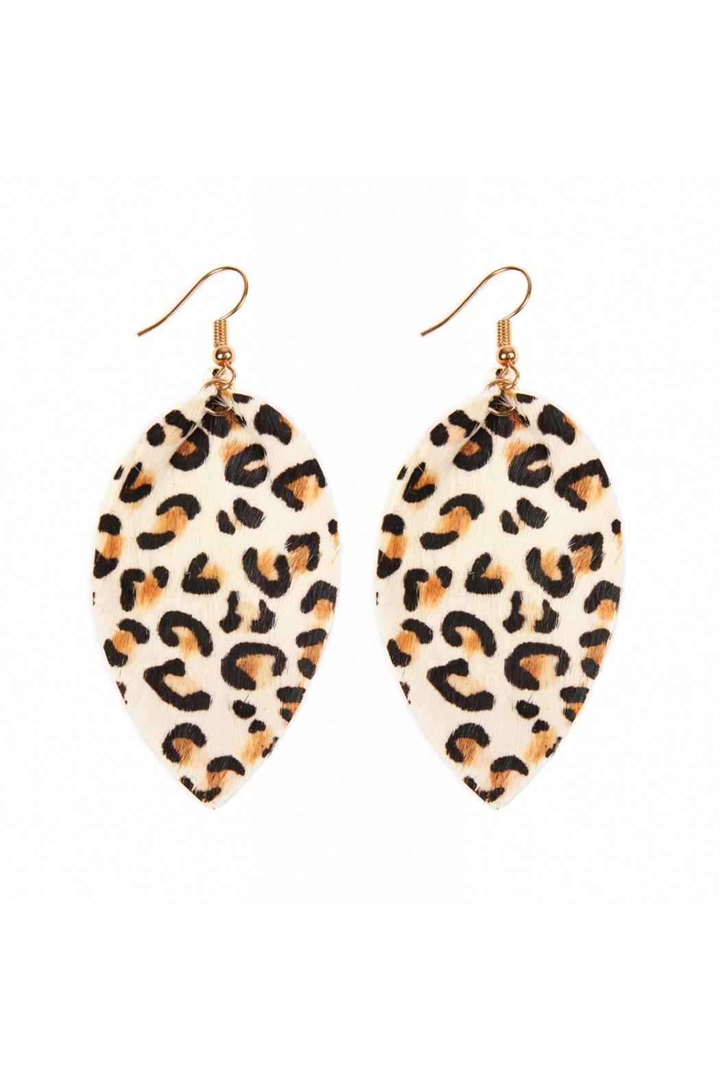 Riah Fashion Leopard Leather Drop-Earrings - Front Cropped Image