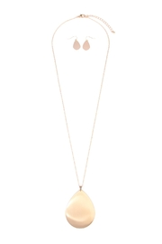 Riah Fashion Teardrop-Plate-Pendent Longline Necklace-Earring-Set - Product Mini Image