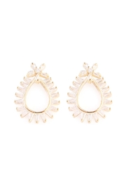 Riah Fashion Teardrop-Shape-Rays Zirconia Earring - Product Mini Image
