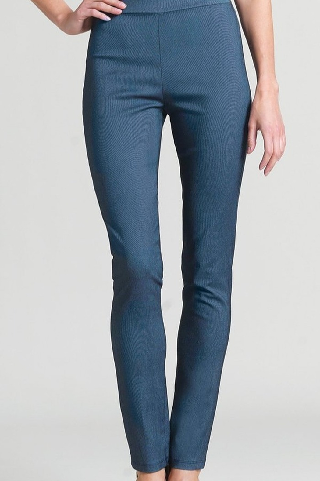 Clara Sun Woo Techno Stretch Straight Leg Pant - Blue Denim - Main Image