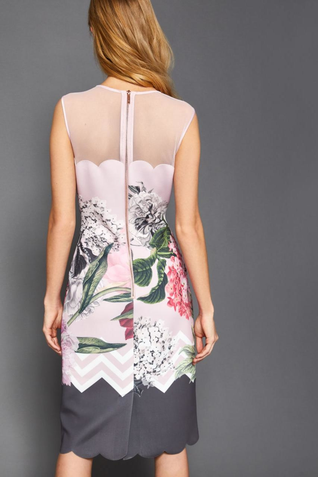 Ted Baker Floral Scalloped Dress - Side Cropped Image