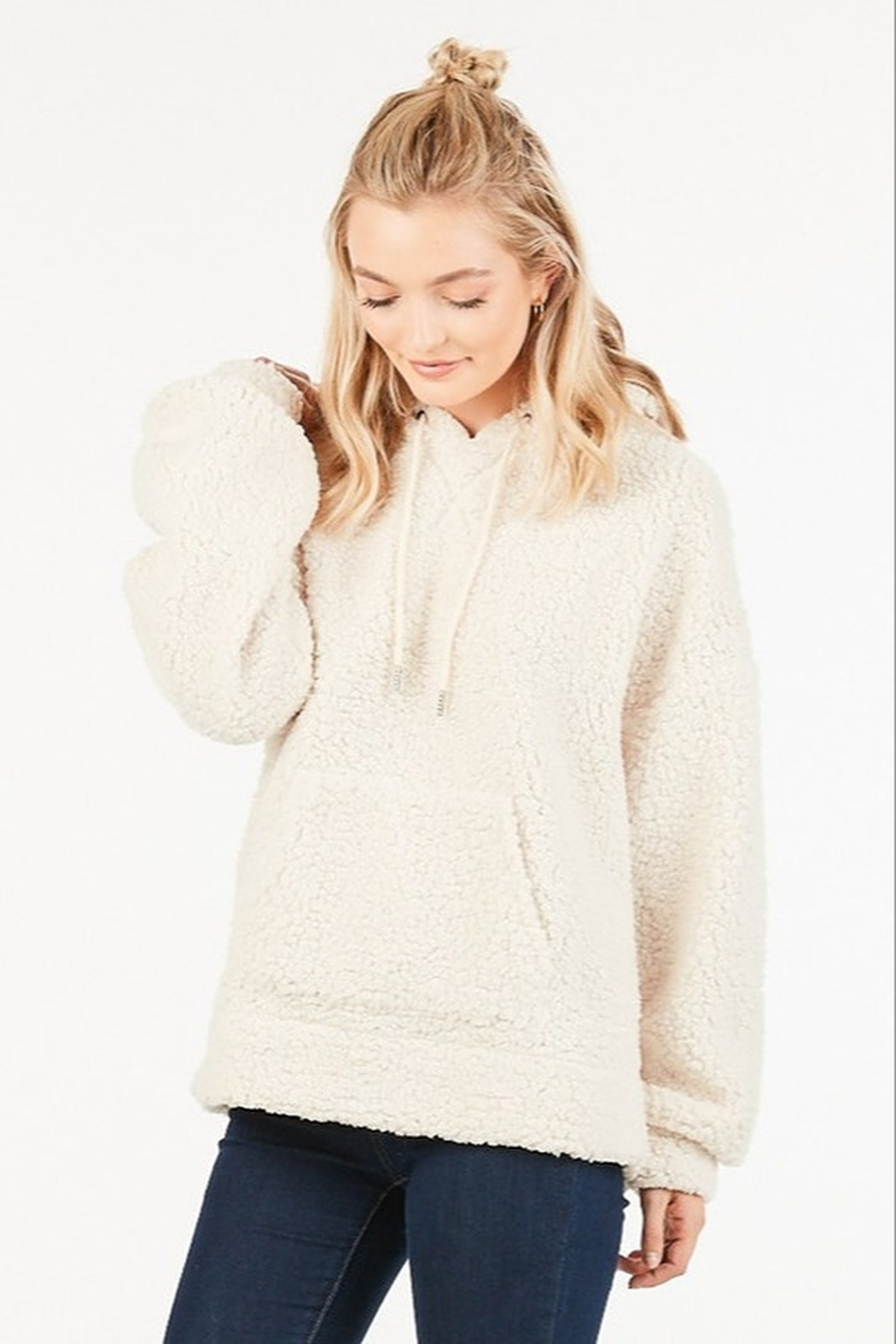Very J Teddy Fleece Pullover - Front Cropped Image