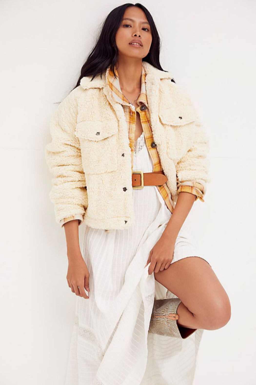 Free People  Teddy Swing Jacket - Front Cropped Image