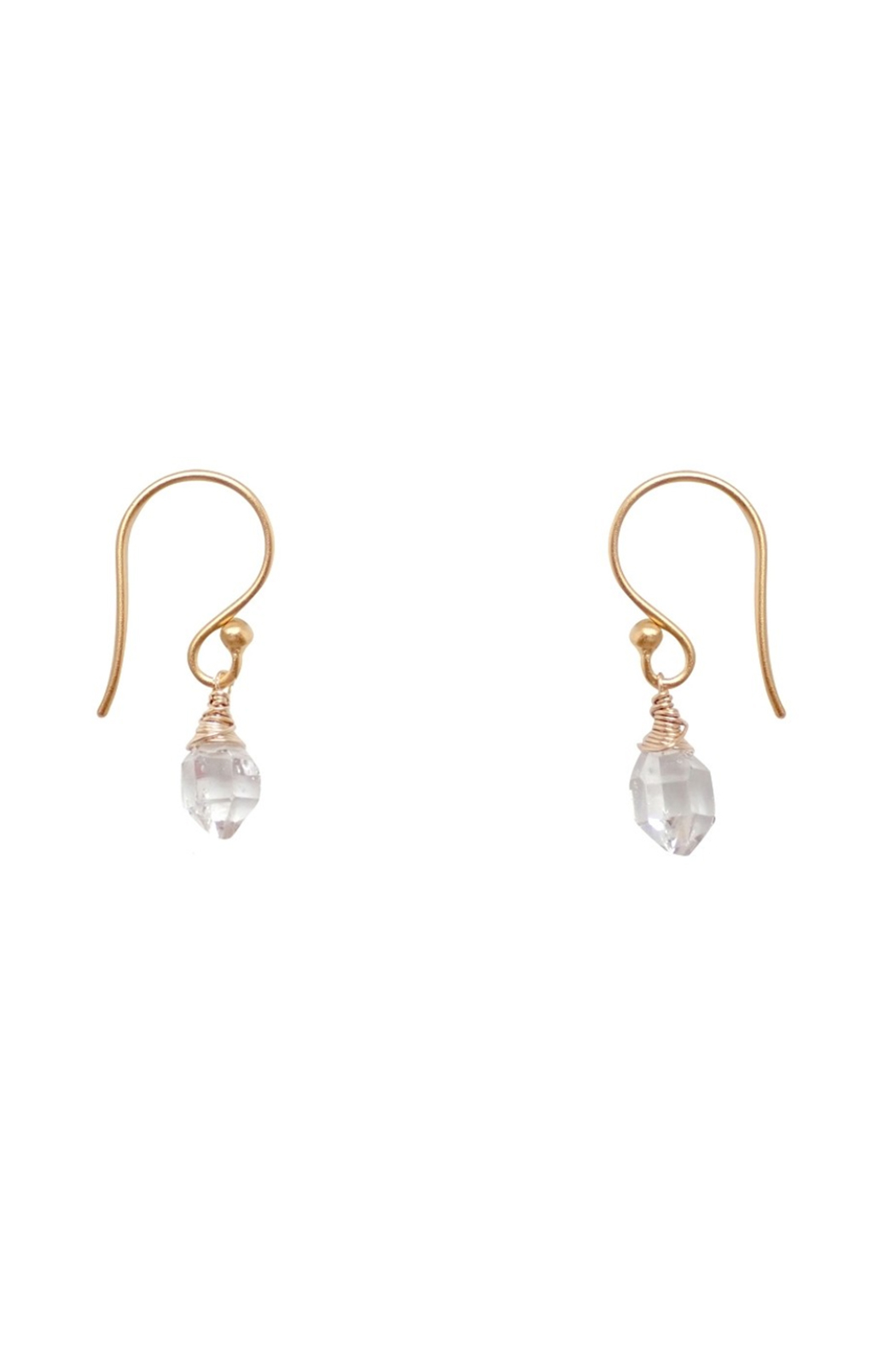 Bronwen Teeny Crystal Earrings Long - Front Full Image