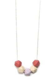 Banded Teething Necklace Rose Terra-cotta Square Beads - Product Mini Image