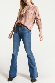 White Crow Tempe Soft Knit Collarless Blouse - Product Mini Image