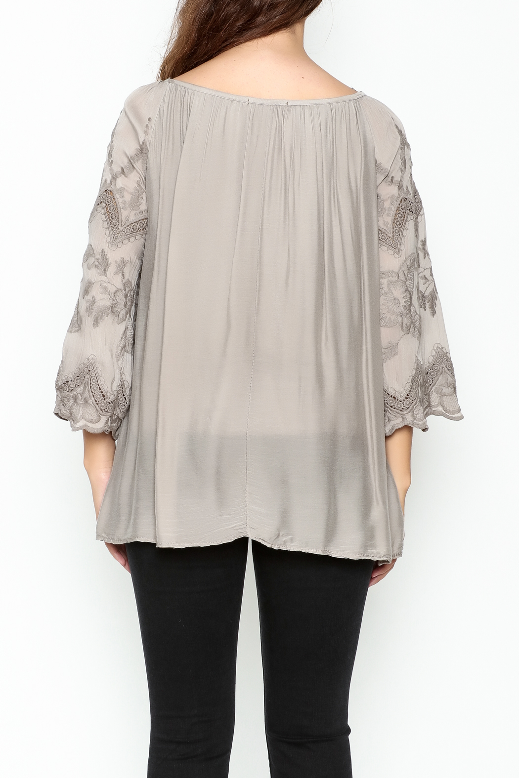 Tempo Paris Embroidered Silk Top - Back Cropped Image