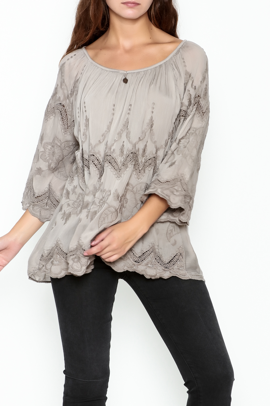 Tempo Paris Embroidered Silk Top - Main Image