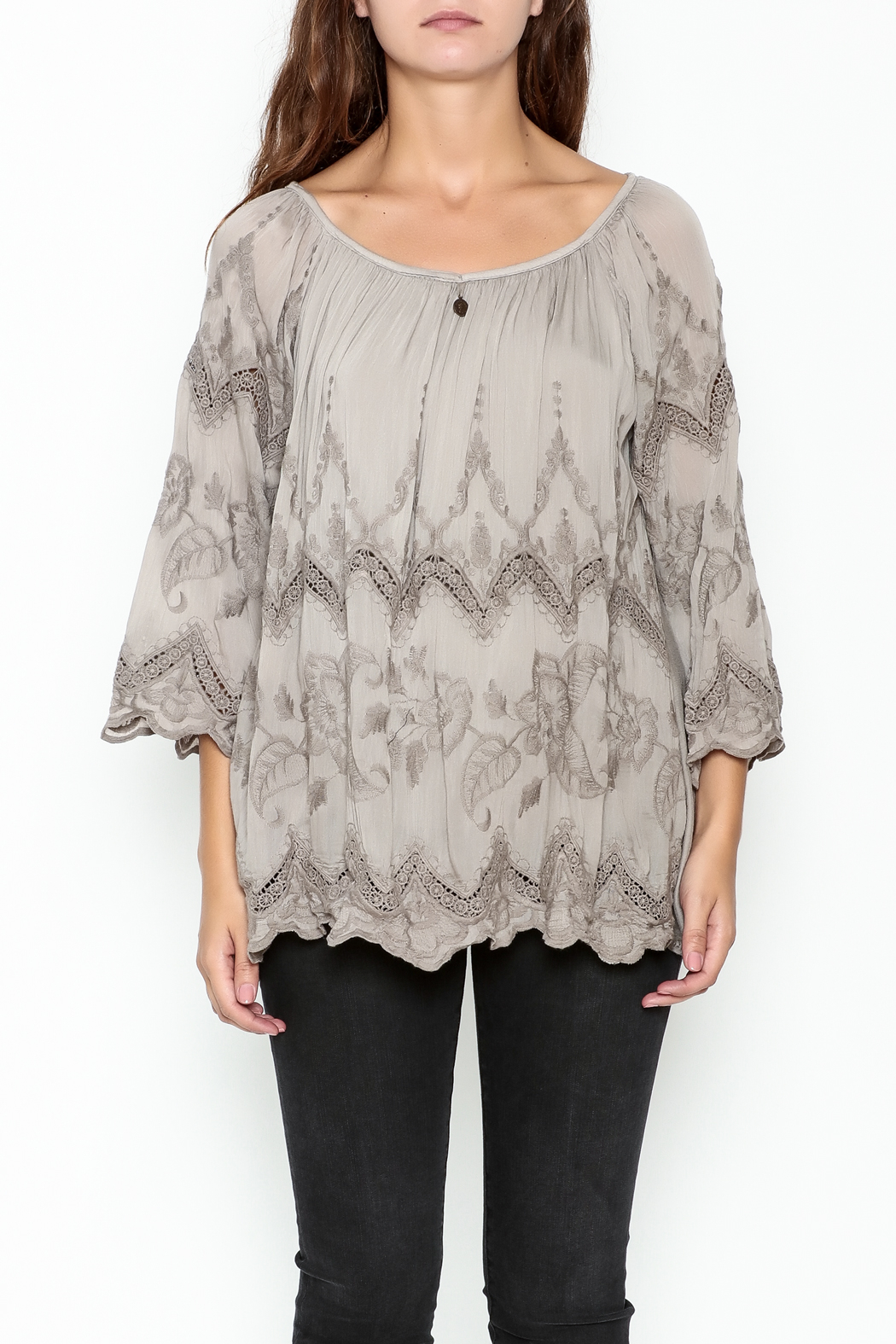 Tempo Paris Embroidered Silk Top - Front Full Image