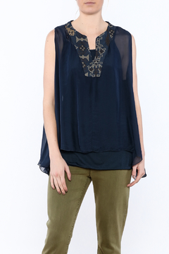 Tempo Paris Navy Embroidered Silk Blouse - Product List Image