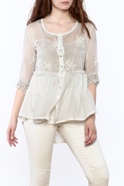 Tempo Paris Empire Embroidered Silk Top - Product Mini Image