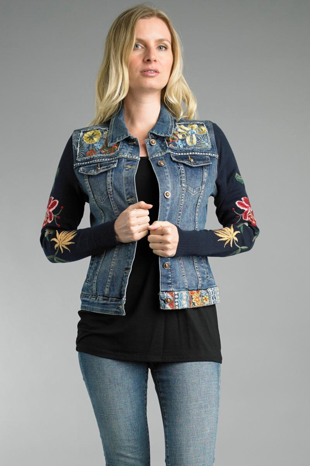 Tempo Paris Embroidered Jean Jacket - Main Image