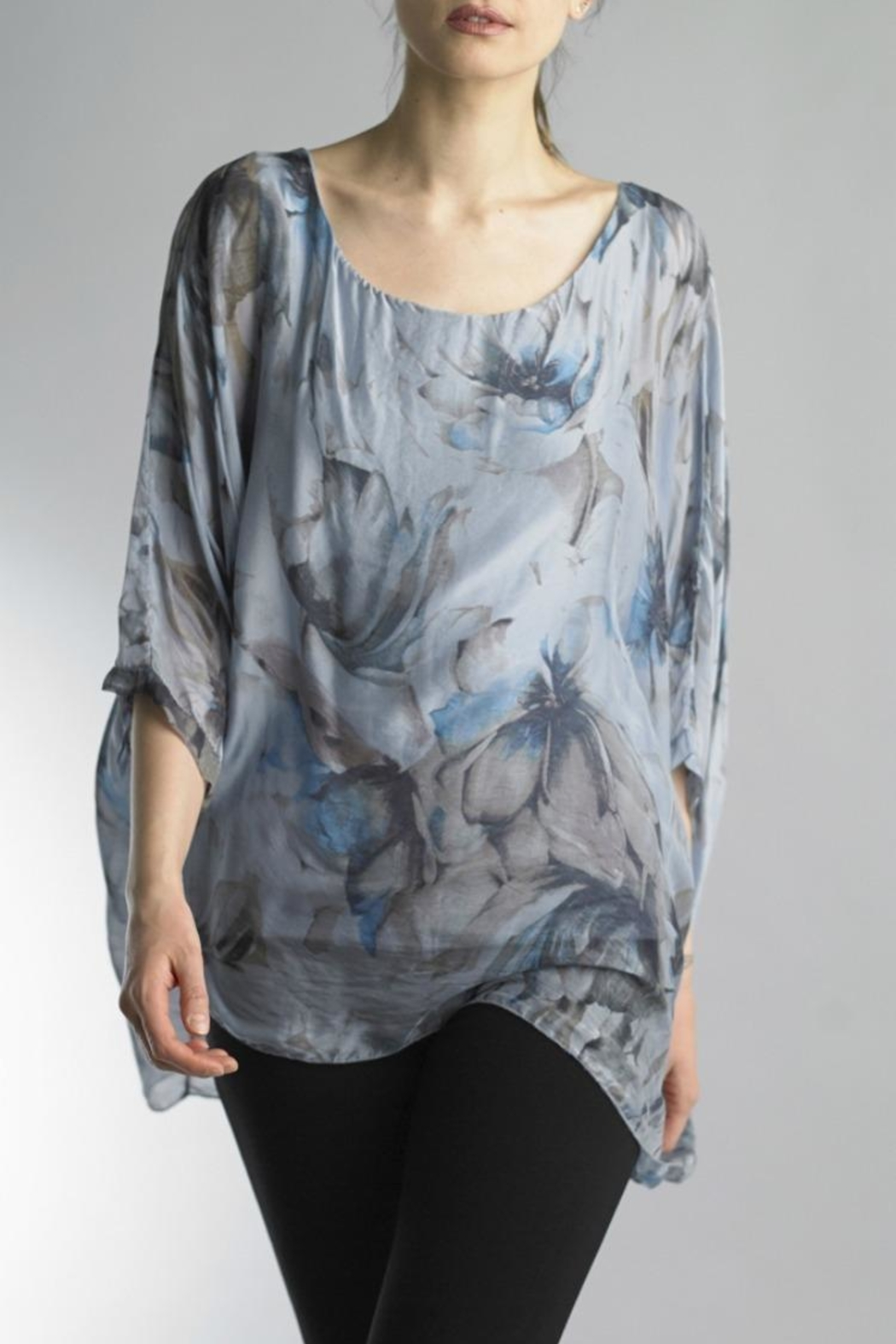 Tempo Paris Floral Viscose Tunic - Front Cropped Image