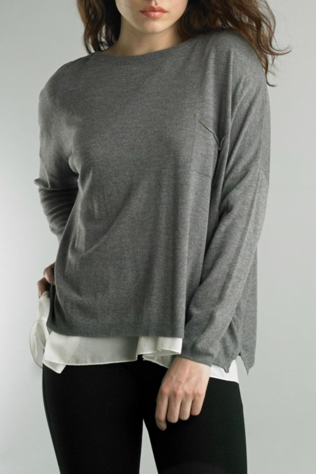 Tempo Paris Hi-Low Sweater - Front Cropped Image