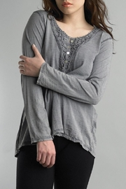 Tempo Paris Lace Henley Tee - Front cropped
