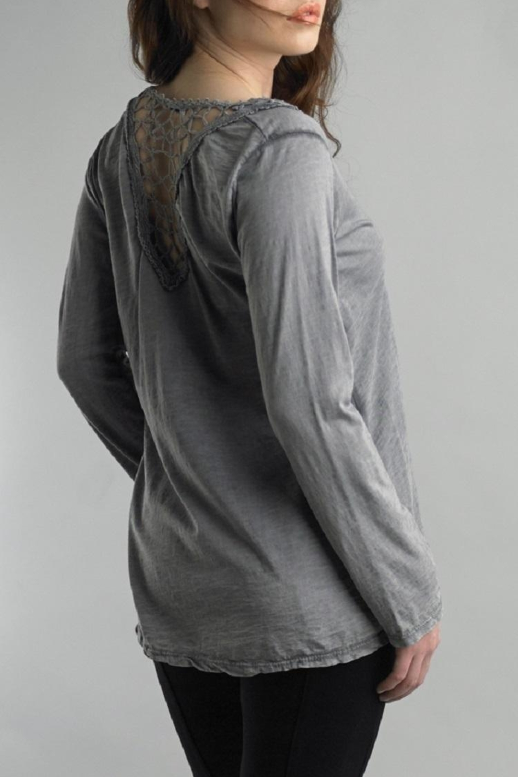 Tempo Paris Lace Henley Tee - Front Full Image