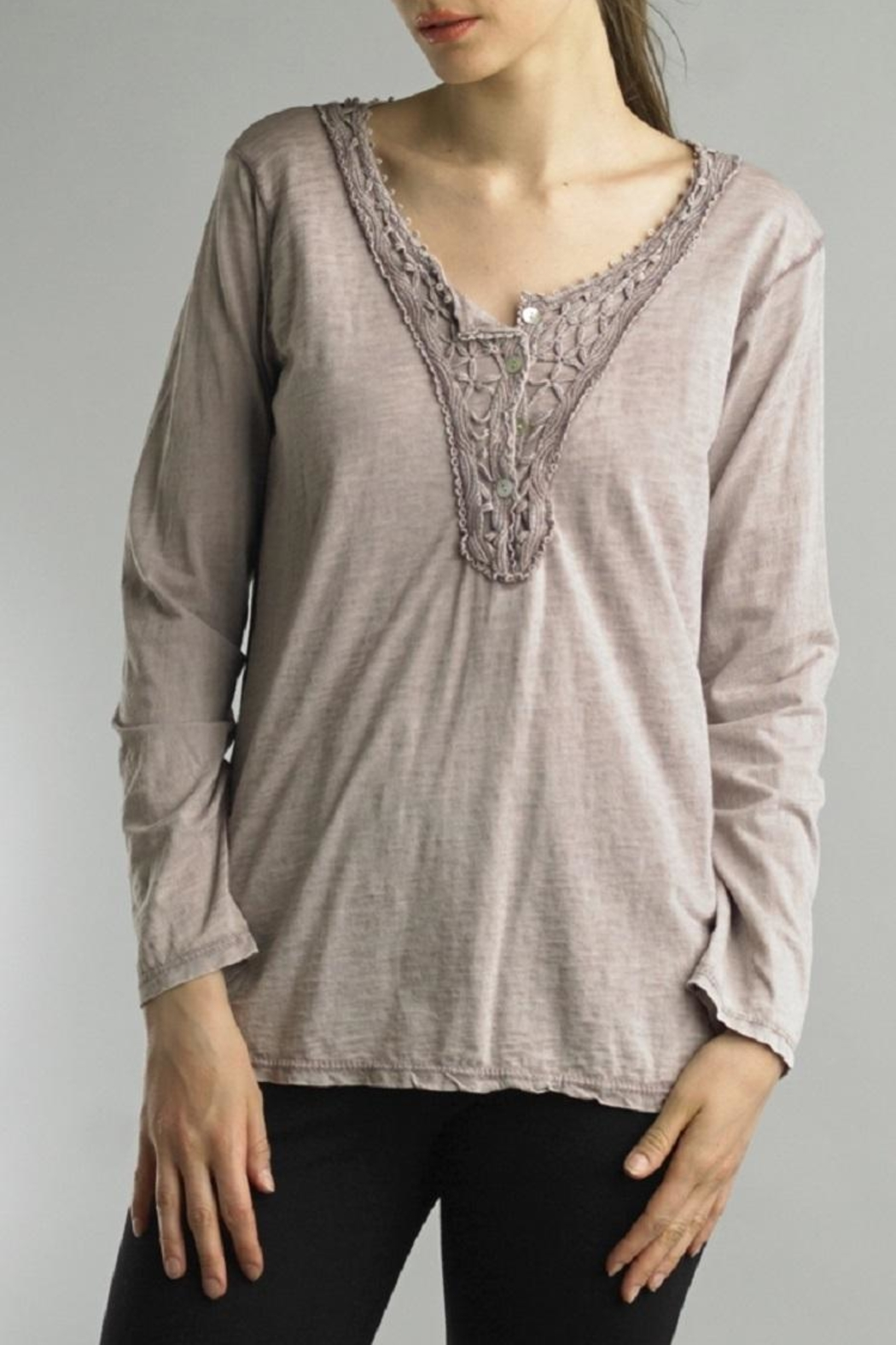 Tempo Paris Lace Henley Tee - Front Cropped Image