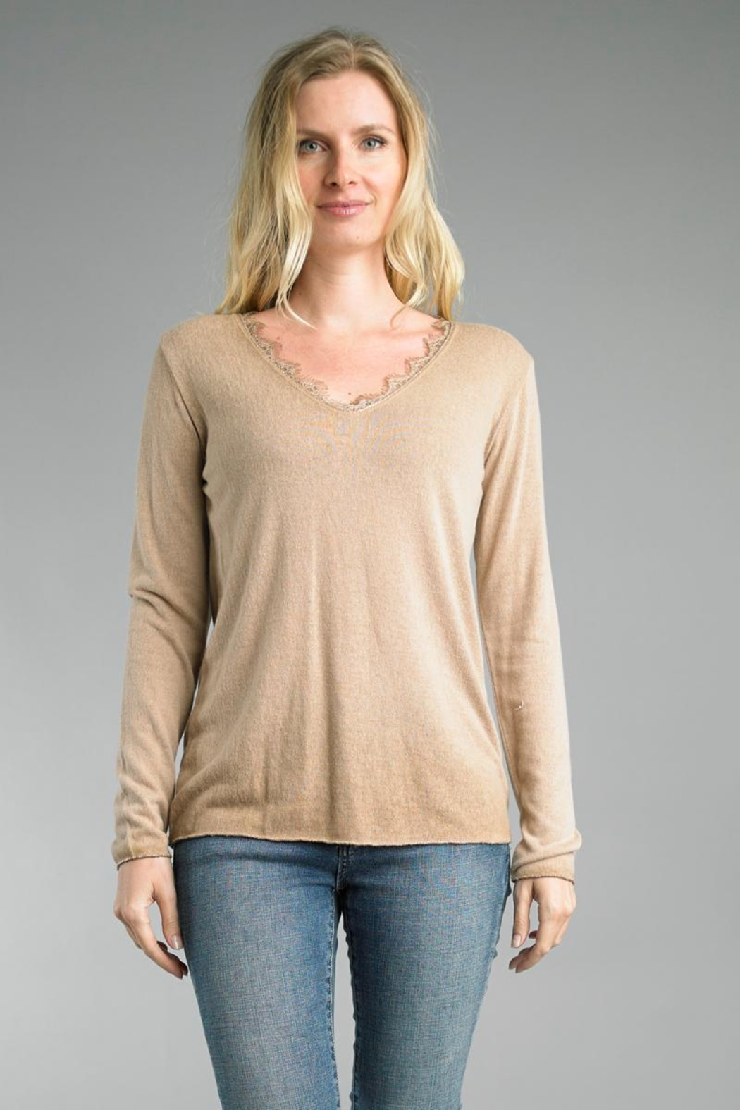 Tempo Paris Lace V-Neck Sweater - Front Cropped Image