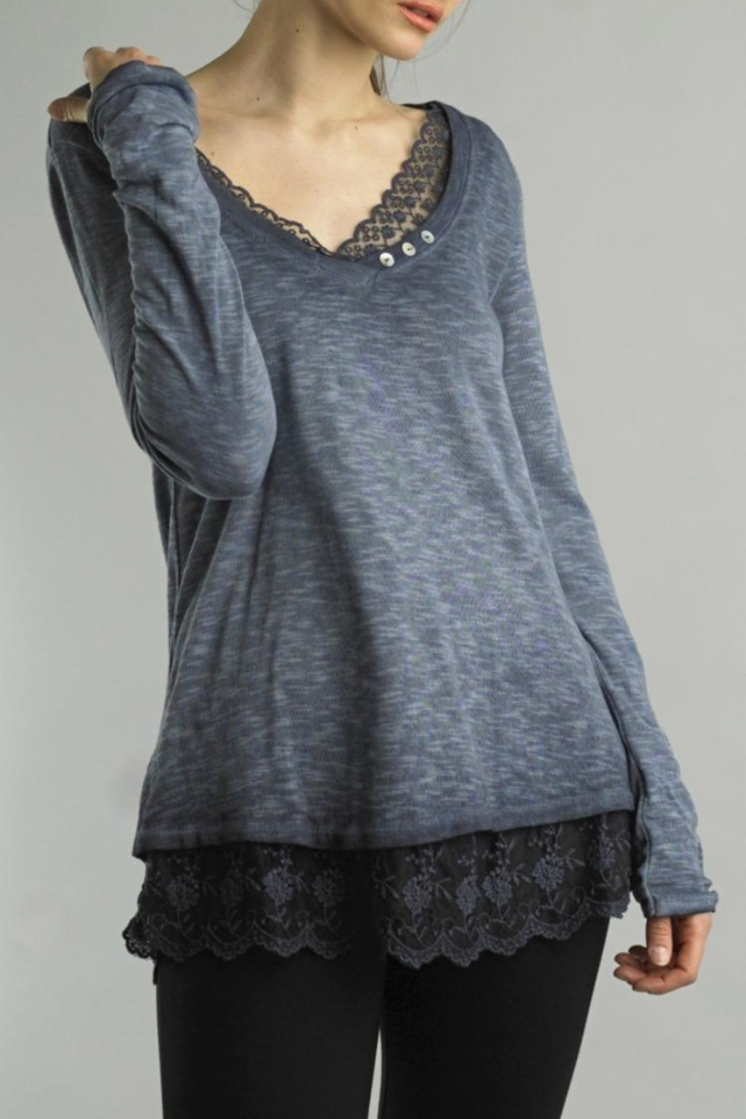 Tempo Paris Lace V-Neck Tee - Front Cropped Image