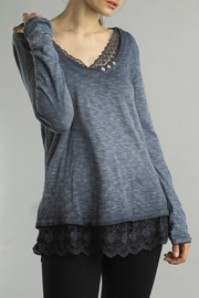 Tempo Paris Lace V-Neck Tee - Front cropped