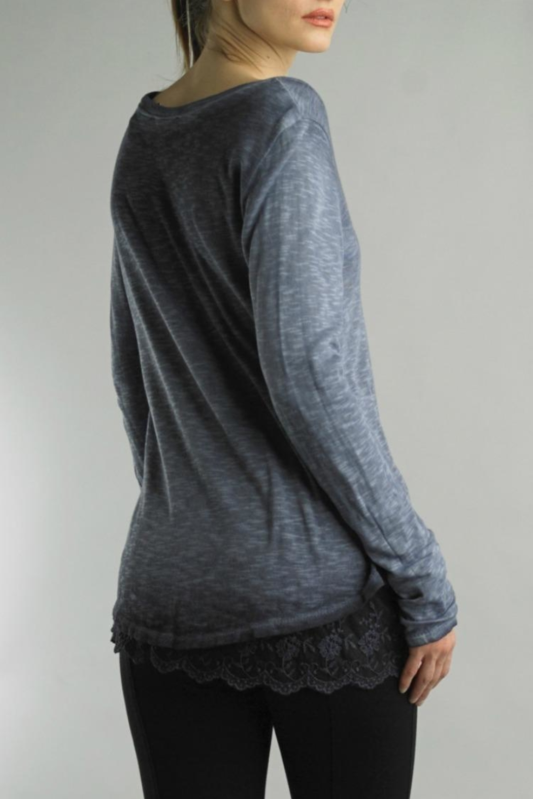 Tempo Paris Lace V-Neck Tee - Front Full Image