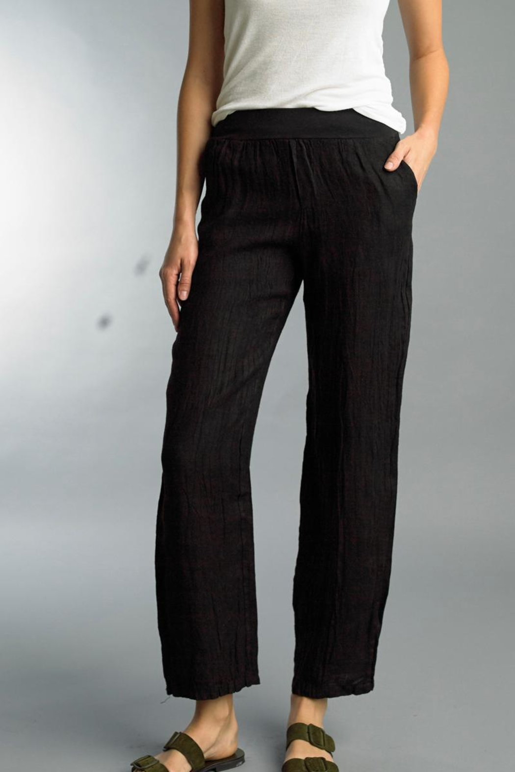 Tempo Paris Pull-On Linen Pant - Front Cropped Image