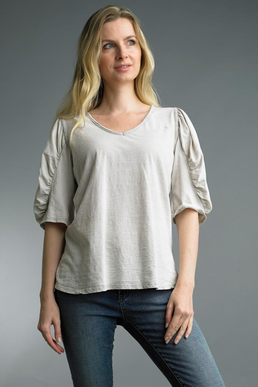 Tempo Paris Ruched Sleeve Top - Main Image