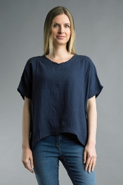 Tempo Paris Textured Cotton Tee - Front cropped