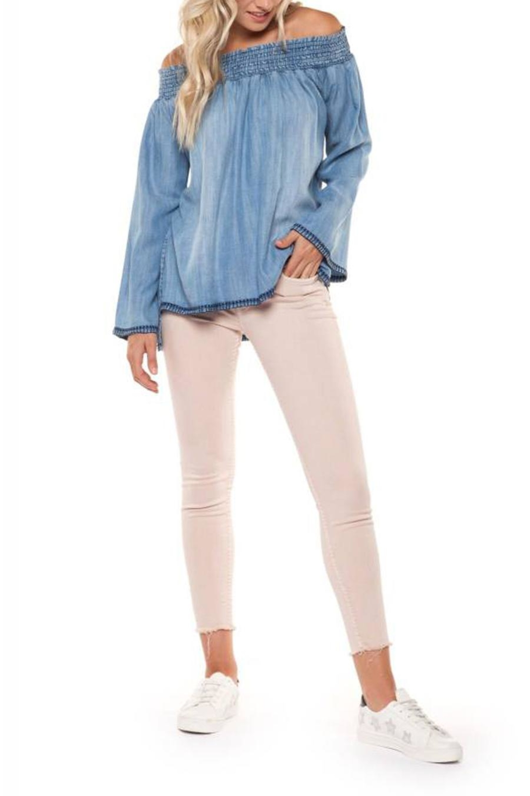 Dex Denim Off-Shoulder Top - Front Cropped Image