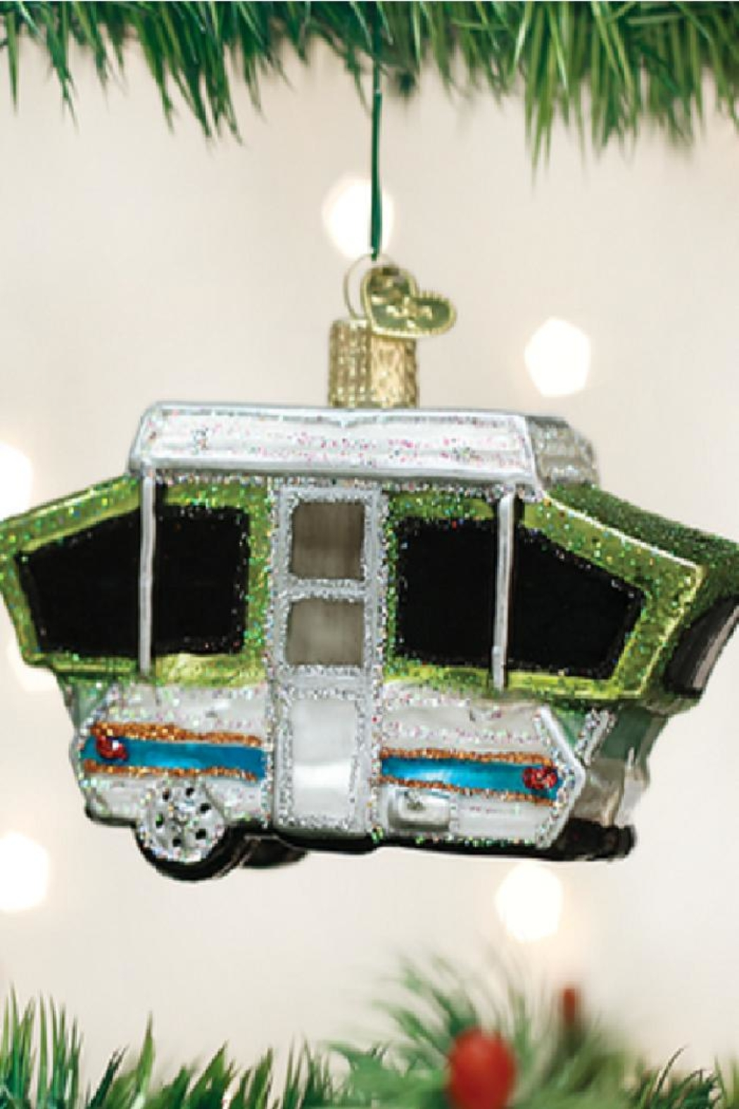 Old World Christmas Tent Camper Ornament - Main Image
