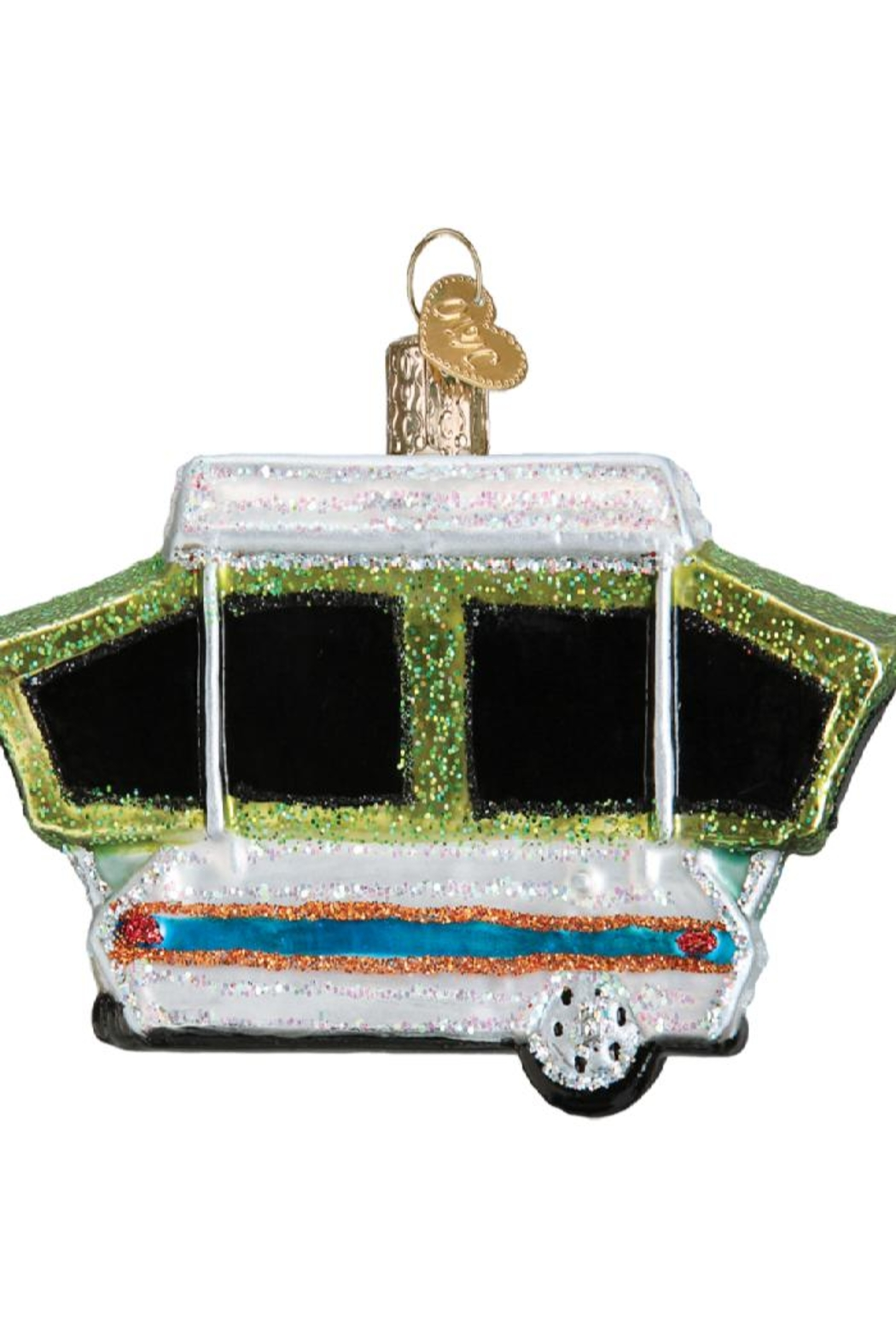 Old World Christmas Tent Camper Ornament - Front Full Image