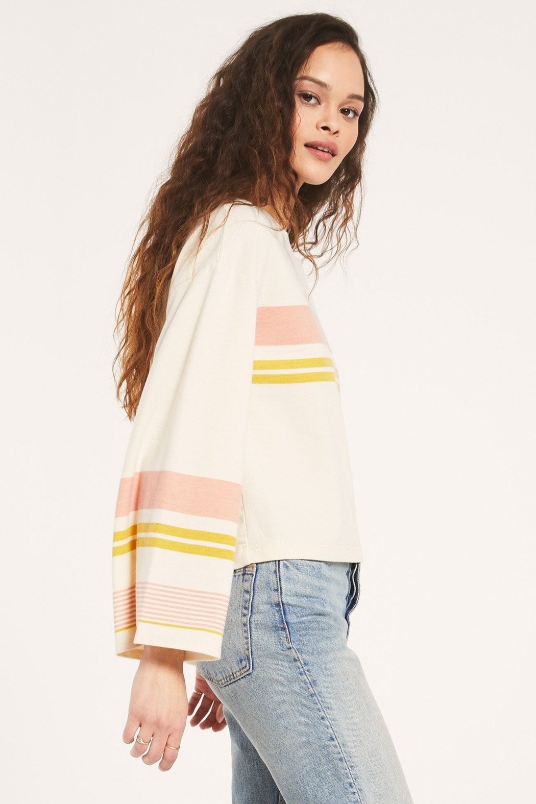 Z Supply  Tera Stripe Pullover - Back Cropped Image