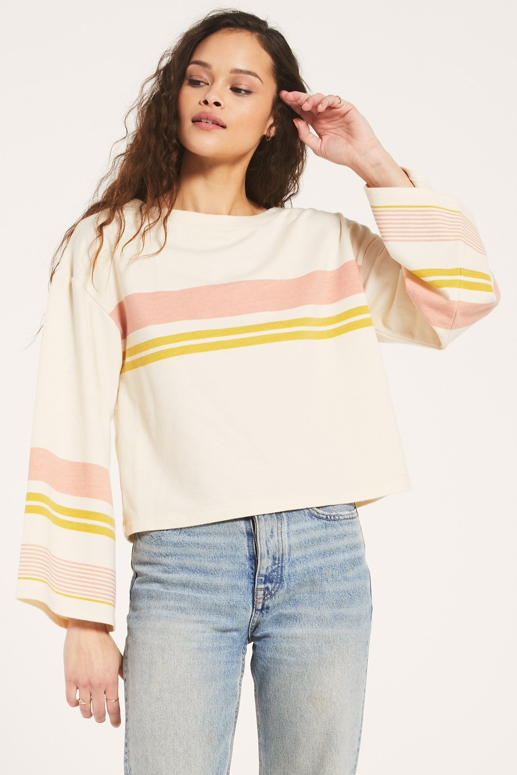 Z Supply  Tera Stripe Pullover - Front Cropped Image