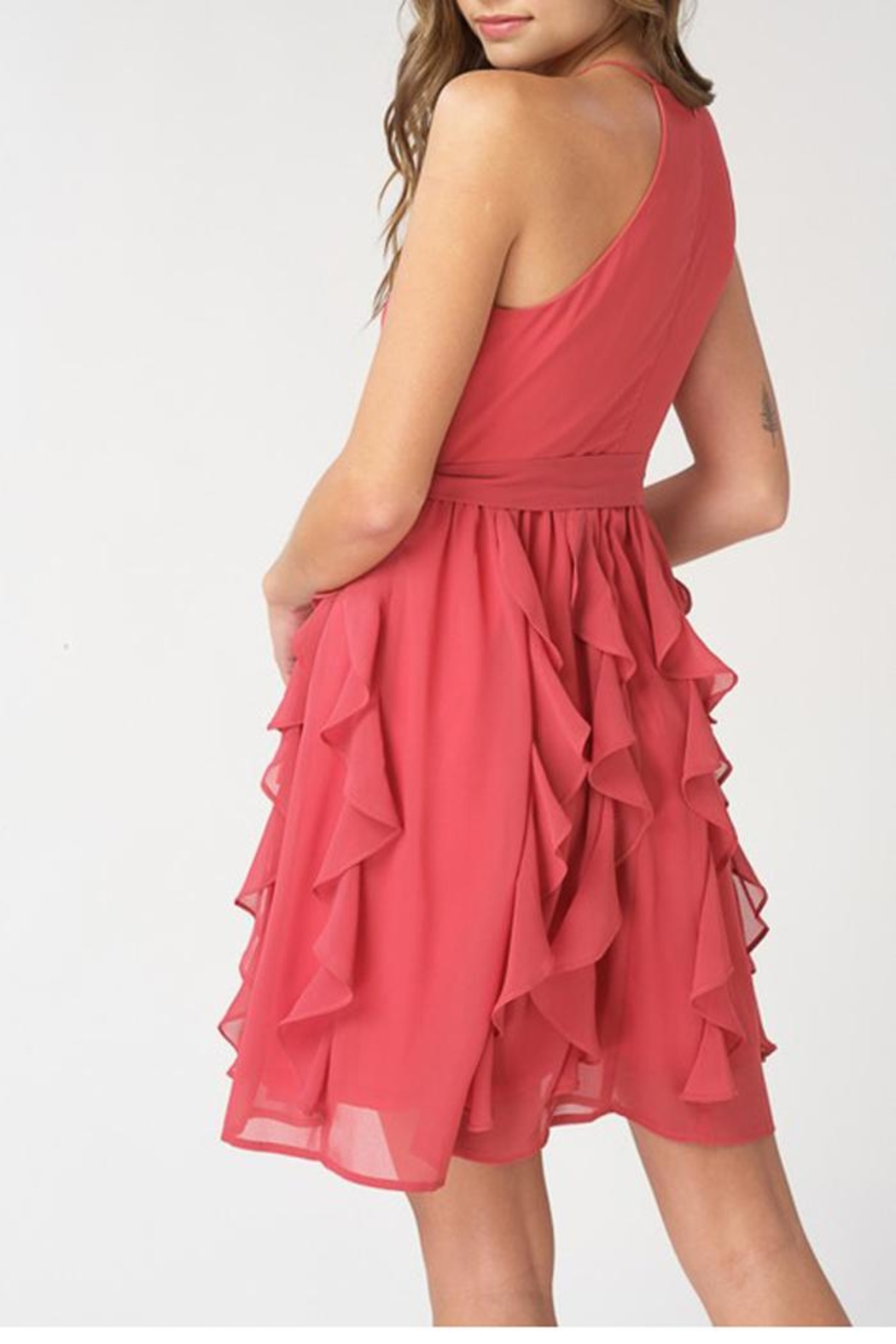 The Vintage Valet Teracotta Chiffon Dress - Front Full Image