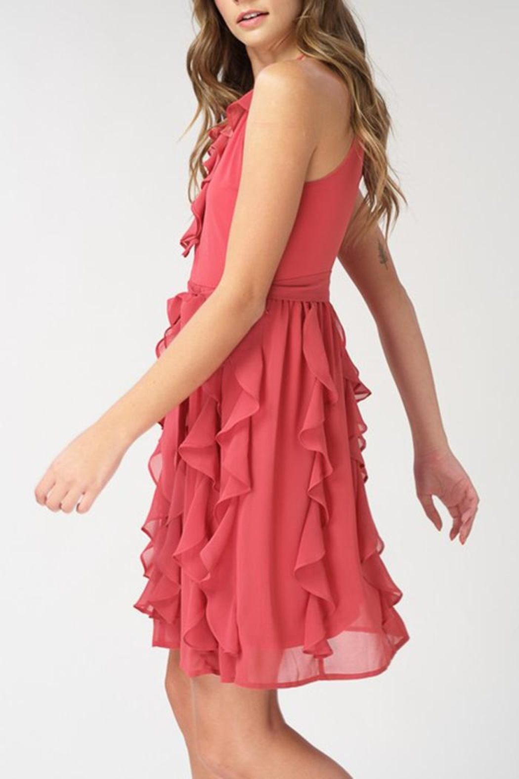 The Vintage Valet Teracotta Chiffon Dress - Side Cropped Image