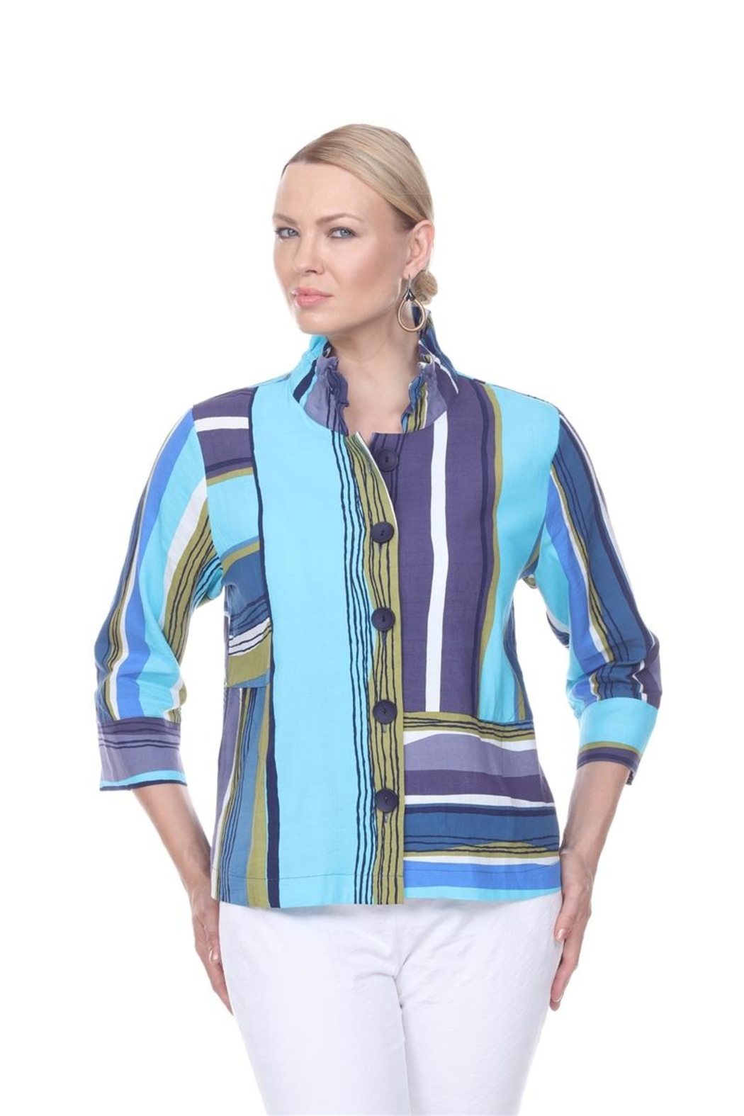 Terra Aqua Printed Jacket - Front Cropped Image